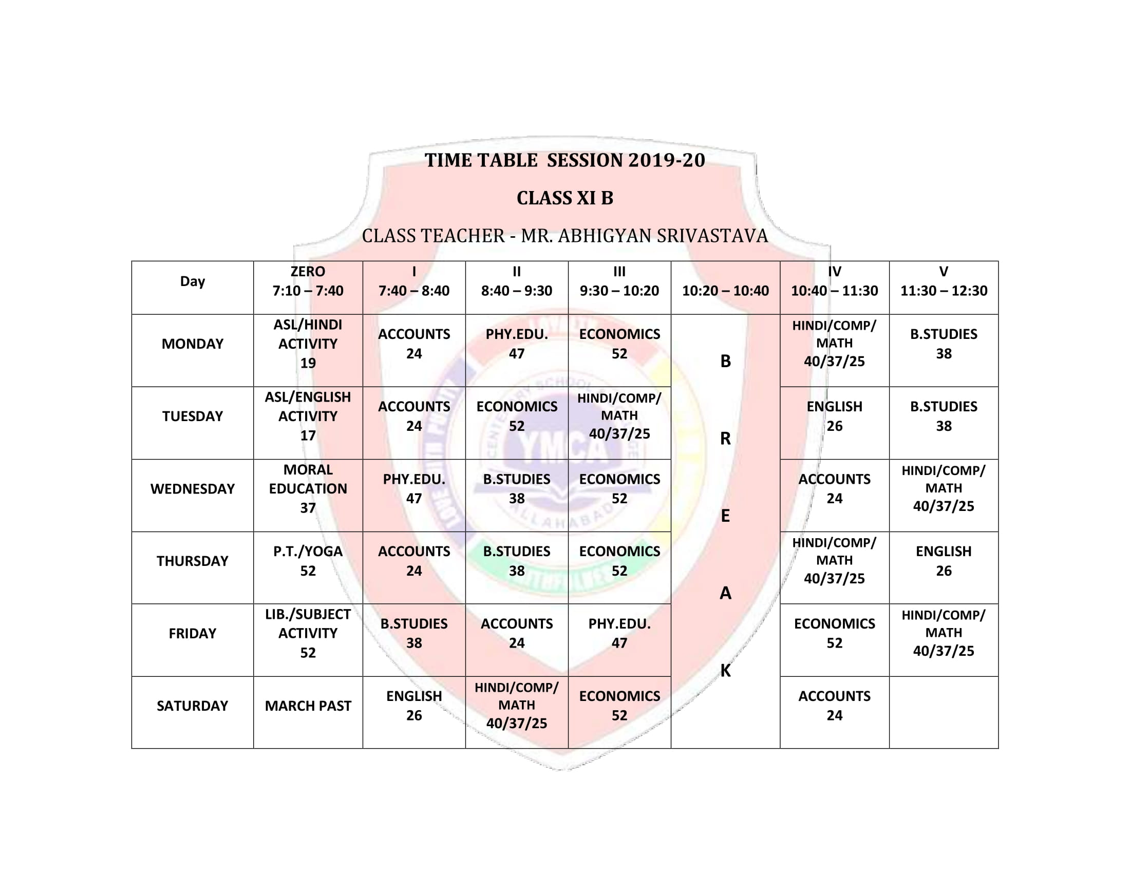 YMCA Time Table